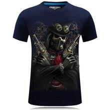 Summer 3D T Shirt Men 2017 Casual T-shirt Plus Size 6XL Pirate Wolf Skulls Funny Tops Hip Hop Fashion Print Tee T-Shirt Homme