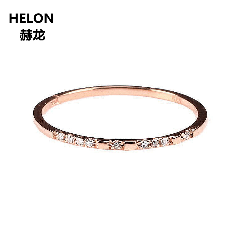 Solid 14k Rose Gold .03CT Certified Round 100% Natural Diamonds Women Anniversary Women Classic Fine Jewelry unique Wedding Ring