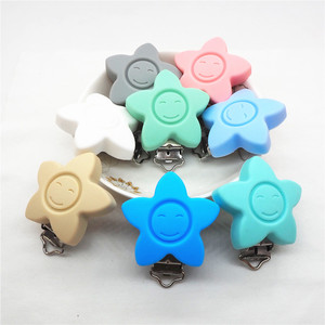 Image 4 - Chenkai 10PCS BPA Free Silicone Flower Smile Face Pacifier Dummy Teether Holder Clips DIY Star Baby Nursing Toy Clip Accessories