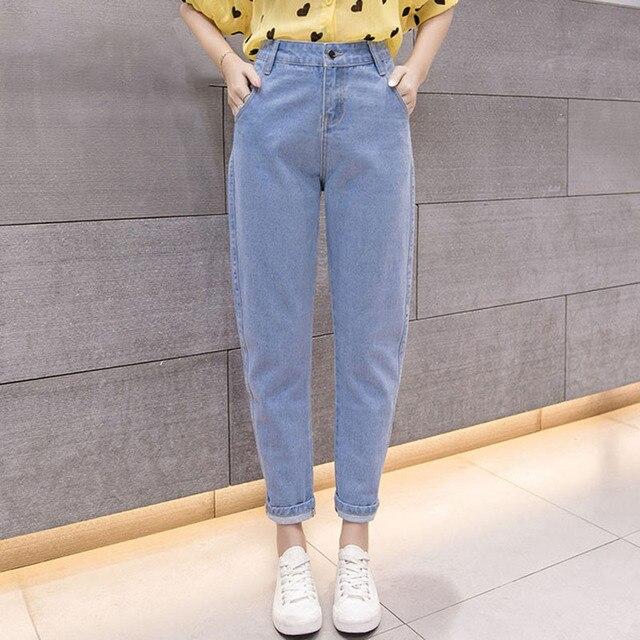 a3b6de3e77 Mulheres Azul Ocasional Calça Jeans de Cintura Alta 2019 Outono Inverno  Celebridade Namorado Solta Calça Jeans