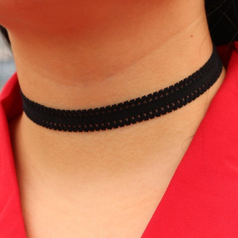 Эластичные чокеры, ожерелья для женщин, Черное кружево, полые цветы, короткие ключицы, ожерелье, модные ювелирные изделия, готический стиль, бижутерия, стимпанк - Окраска металла: N983