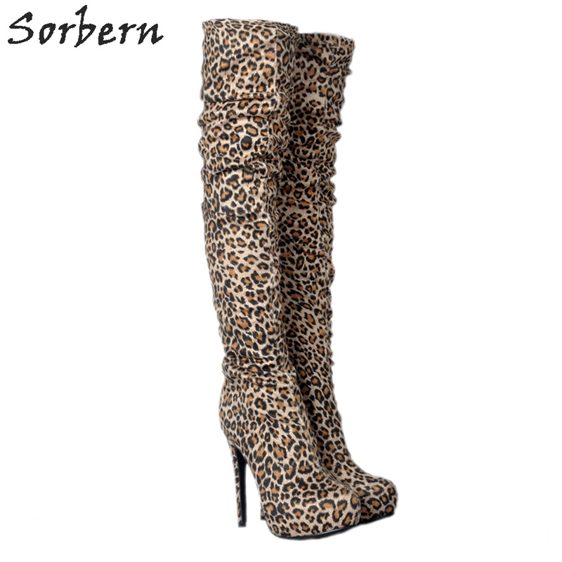 Sorbern Women Boots Leopard Ladies Fashion Party Over The Knee Length Bota Feminina Round Toe 2018 Botas FemininaSorbern Women Boots Leopard Ladies Fashion Party Over The Knee Length Bota Feminina Round Toe 2018 Botas Feminina