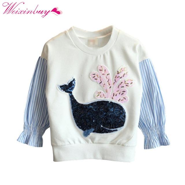 7c15f1cfd0d44 Baby Girls Sweatshirts Spring /Autumn Long Sleeve Cartoon Sequins Striped  Stitching Child Hoodies kids T