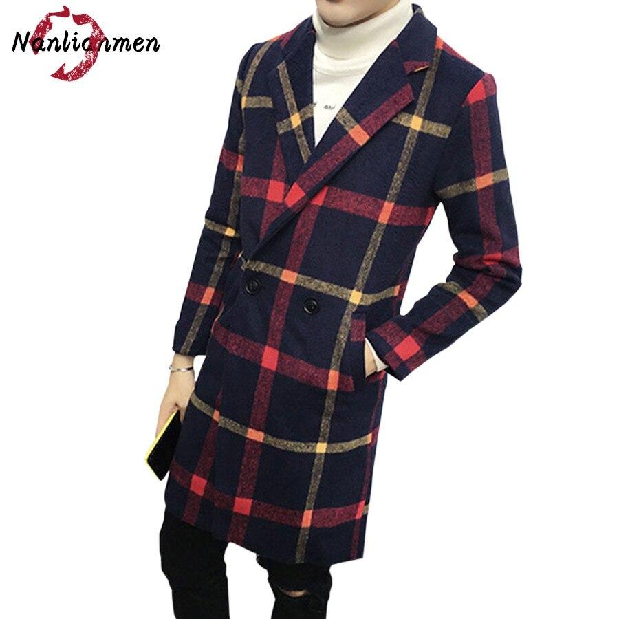 2017 Rushed Sobretudo Casual New Plaid Mens Long Wool Coat Abrigos Lana Para Hombres Pea Coats Male Overcoat Winter Jacket Man