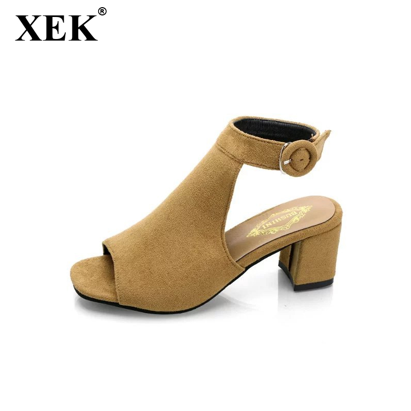 XEK Women's shoes 2018 Summer New Fashion high-heeled woman sandals frosted with fish mouth ladies sexy Casual sandals WFQ52 in the summer of 2016 the new wedge heels with fish in square mouth denim fashion sexy female cool shoes nightclubs