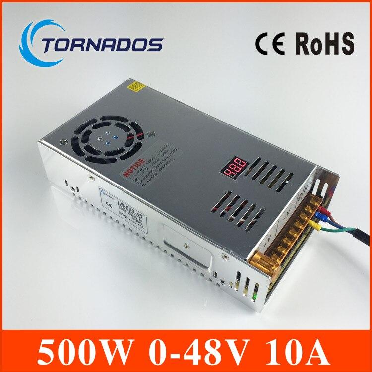Импульсный источник питания 0-48 В 500 Вт AC к DC 48 В SMPS для электроники светодио дный полосы Дисплей LS-500-48