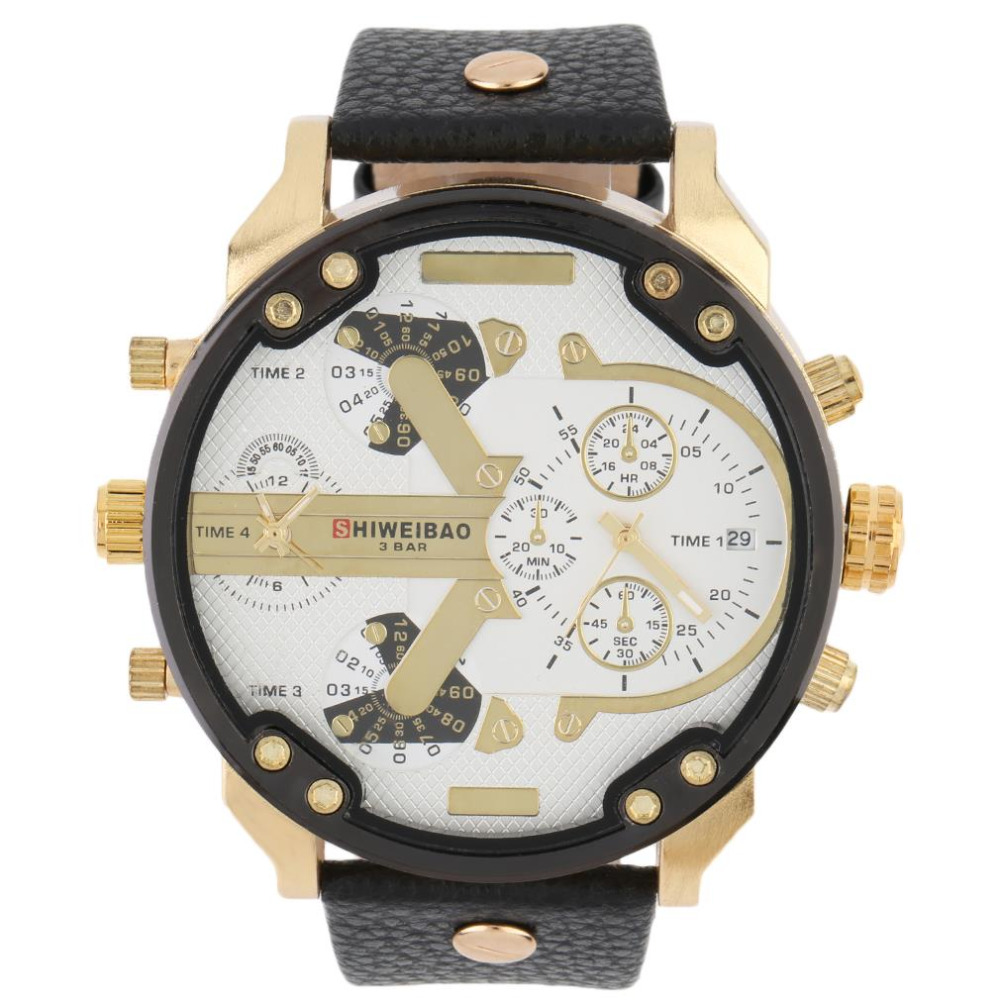 correa de cuero relojes de marca de moda de lujo de los hombres militar reloj de