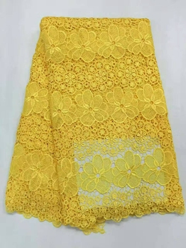 Yellow 5 Yards / Lot 2016 Women Embroidery African Guipure Lace  Swiss Voile French Nigerian Lace Fabrics High Quality