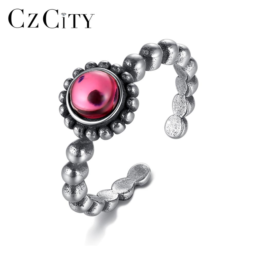 CZCITY Vintage Design Thai 925 Sterling Silver Resizable Rings For Women Round Crystal Fine Jewelry Wedding Ring Gift SR0216
