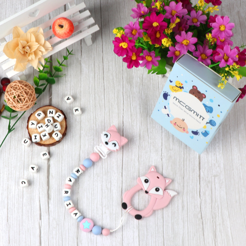 TYRY.HU Silicone Pacifier Chain BPA FREE Personalized Name Teething Chain For Baby With Cartoon Teether Customized Chewable Toy
