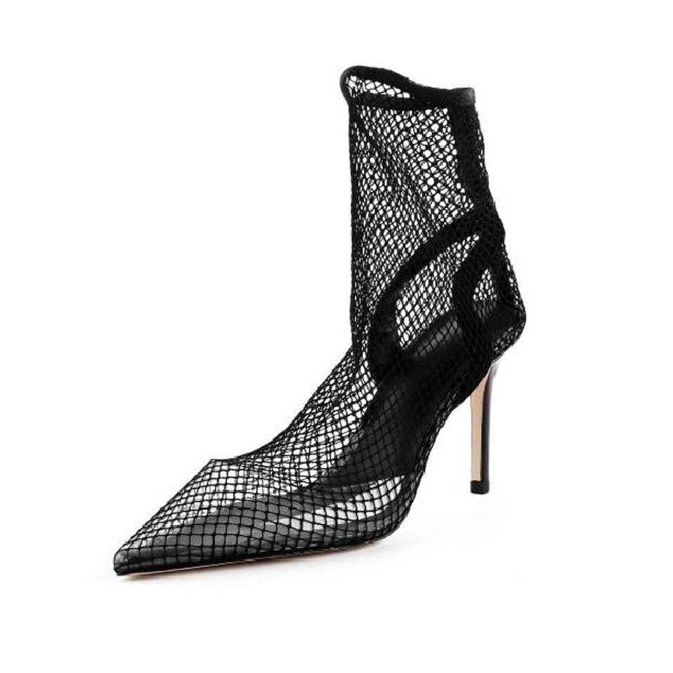 Knsvvli openwork high heel summer boots women black mesh breathable stiletto sexy women shoes pointy toe ankle boots women