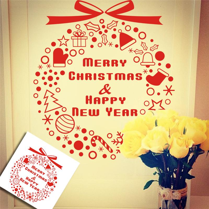 Merry Christmas Happy New Year Quotes Wall Stickers Room Decor 04