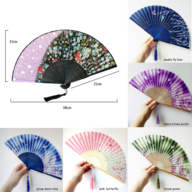 Party Decor Vintage Retro Style Fashion Chinese Japanese Folding Fan 1 Pcs Sakura Pattern Art Craft Gift Wedding Dance Hand Fan