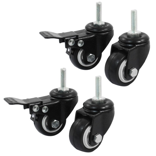 4pcs/lot 8mm/M8 Thread 40mm/1.5 inch Wheel 360 Rotatable Shopping Trolley Brake Double Ball Bearings Swivel Caster Wheel for DIY