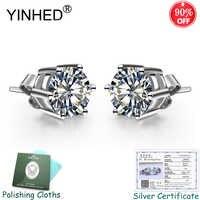 Gesendet Silber Zertifikat! YINHED 100% Reine 925 Silber Stud Ohrringe für Frauen 1 Karat Runde CZ Diamant Hochzeit Schmuck Geschenk ZE082