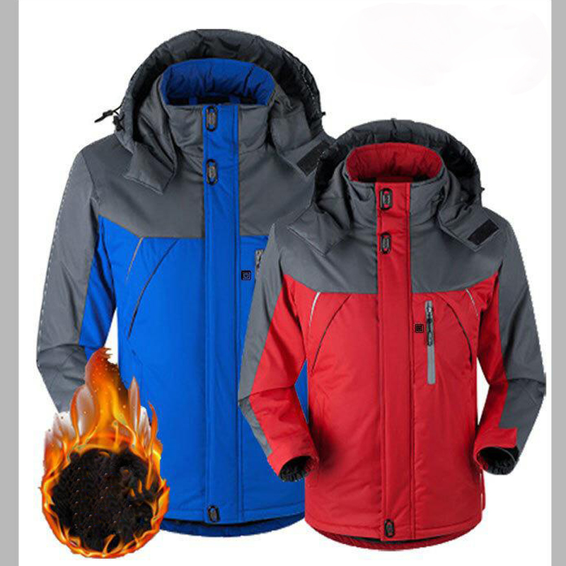 Image 3 - Unisex Winter Outdoor Intelligent USB Work Hooded Heating Jacket Coats Adjustable Temperature Control Safety Clothing DSY0010-in Safety Clothing from Security & Protection