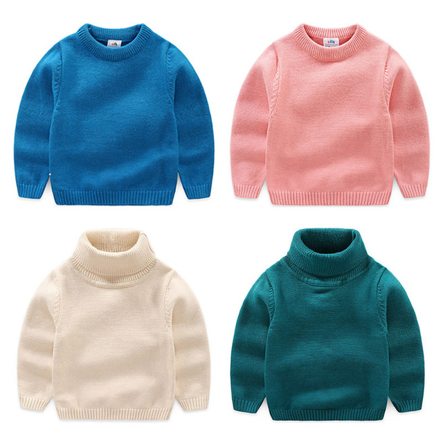 ad39e3892 Baby High Neck Crew Neck Sweater 2018 Autumn and Winter Wear New ...