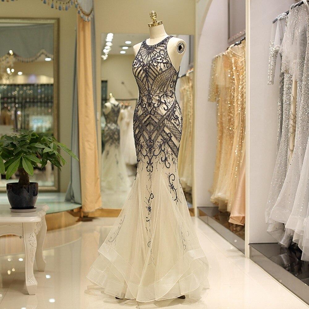 Champagne Prom Dresses Beaded Bodice Walk Beside You Mermaid Sleeveless Graduacion Long Sweep Train Tulle O-neck Evening Gowns