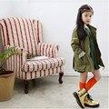 Детская Одежда Осень 2016 Девушки Мода И Пиджаки Дети Куртка Полный Рукав Армия Зеленый Хлопка С Длинным Пальто Для 6-15 лет