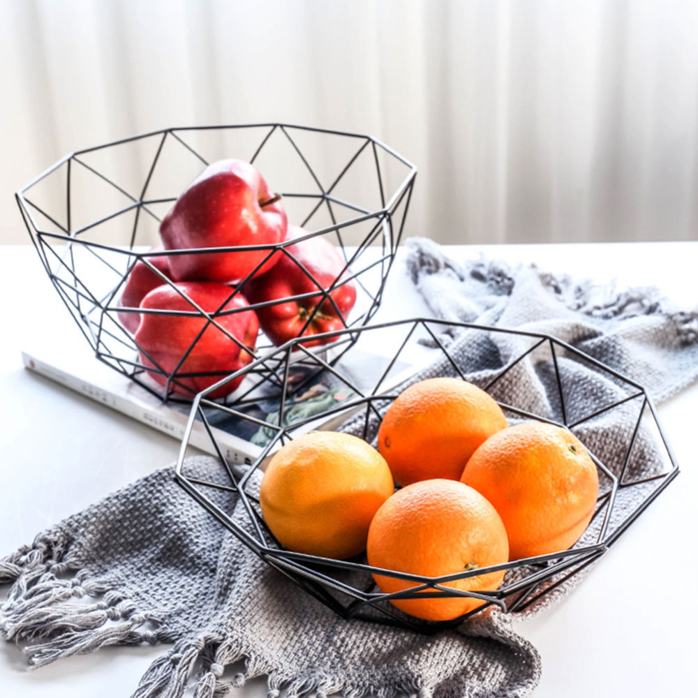 Nordic Storage Basket Creative Snacks Candy Basket Desktop Bedroom Kitchen Fruit Basket Decor Iron Black Storage Basket 26*8cm