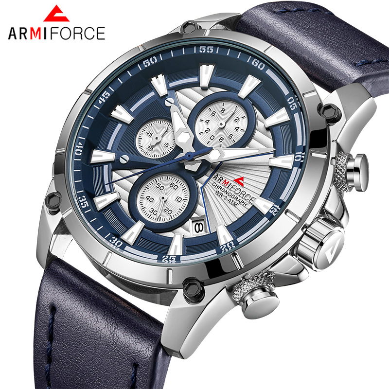 2018 ARMIFORCE New Fashion Brand Men Watch Quartz Genuine Leather Band Watches Male Army Sport Military Chronograph Analog Clock genuine jedir quartz male watches genuine leather watches racing men students game run chronograph watch male glow hands