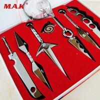 7 Pcs NARUTO Mini Metal Weapons Model Hatake Kakashi Deidara Kunai Shuriken Sword Kunai Knife Set