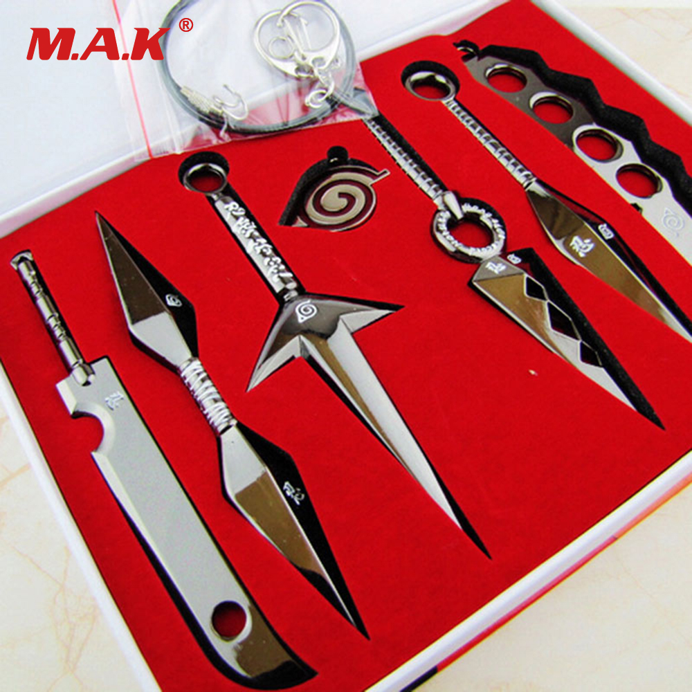 7 Pcs NARUTO Mini Metal Weapons Model Hatake Kakashi Deidara Kunai Shuriken Sword Kunai Knife Set Cosplay Toys Collections Gift 21cm naruto hatake kakashi pvc action figure the dark kakashi toy naruto figure toys furnishing articles gifts x231