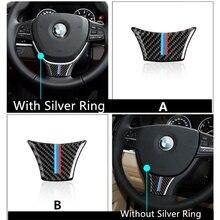 De Fibra De carbono Del Volante Del Coche Pegatina M raya Pegatinas Emblema para BMW F10 F11 F07 Serie 5 530 523 525 520 535 i 528 d Xdrive