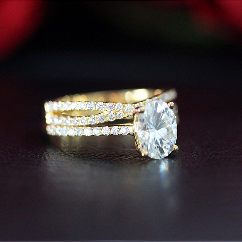 14K or jaune ensemble de bagues 2ct Carat ovale taille brillant Moissanite bague de fiançailles et alliance pour les femmes - 2