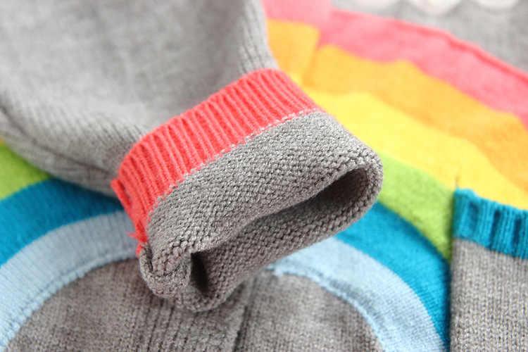 Вязаный свитер для мальчиков, весенний Радужный свитер с облачком для маленьких девочек, одежда для детей, вязаный кардиган, детские топы с длинными рукавами, куртки