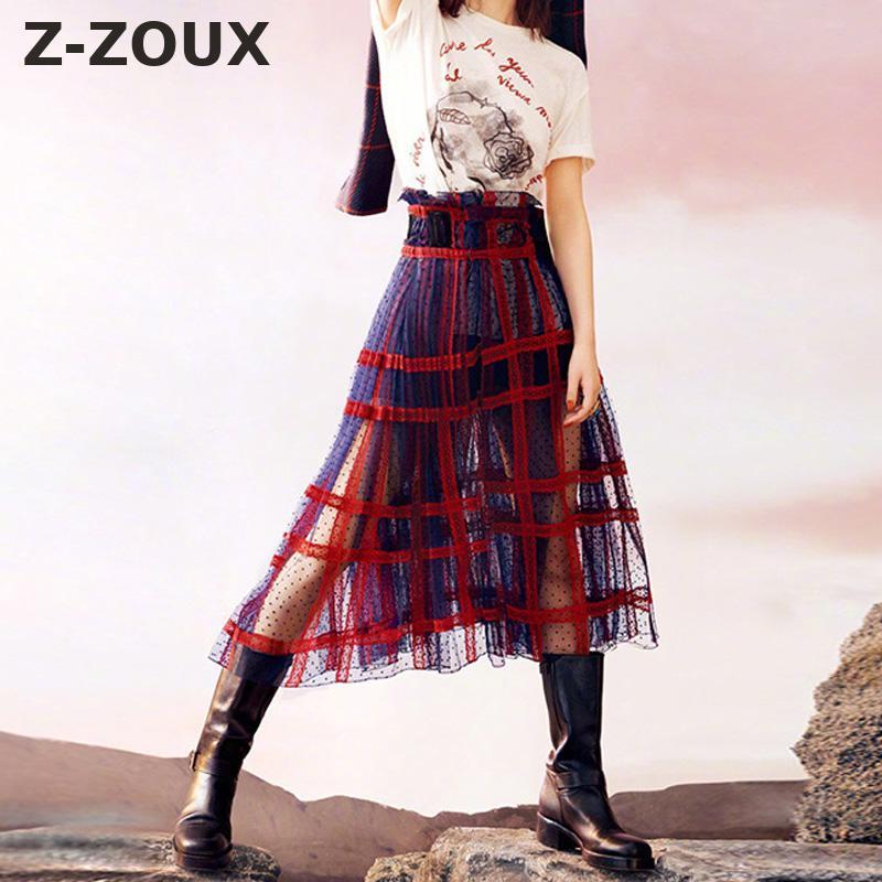 Z ZOUX Women Skirt Plaid Patchwork Long Skirts For Women Hollow Out Sexy Mesh Skirts All Match High Waist A Line Skirt Autumn
