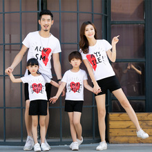 A family of four parent-child summer new casual fitted T-shirt wear letter printed cotton compassionate