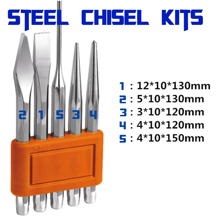 80-105 Steel chisel Set Tapered punch Flat chisel Drill head Cylindrical punch Center punch Masonry chisel  chrome vanadium steel chisel chisel punch 6 piece punching bench chisel combination