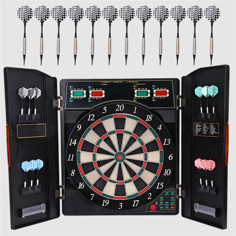 A Set Dart Board Bullshooter Game Play Electronic Cabinet LED Display Arachnid Indoor 12 Darts 27 Games With Variations rowsfir dart board 6 darts set funny play dartboard soft head darts board game toy fun party accessories gambling new year gift