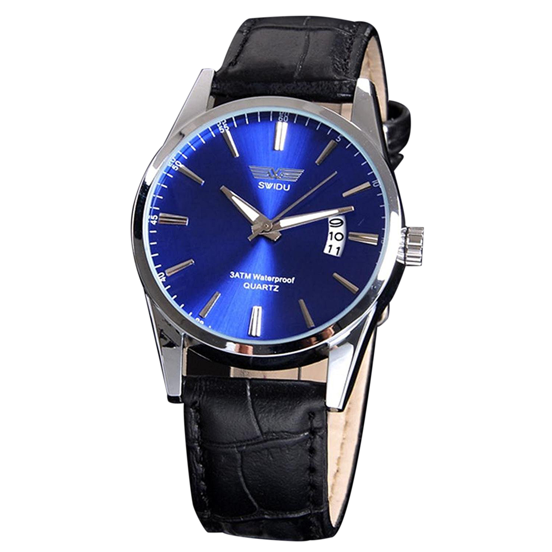 SWIDU Mens Fashion Stainless Steel Luxury Sport Analog Quartz Wrist Watch (Blue) xiniu men s fashion luxury watch stainless steel sport analog quartz mens wristwatch