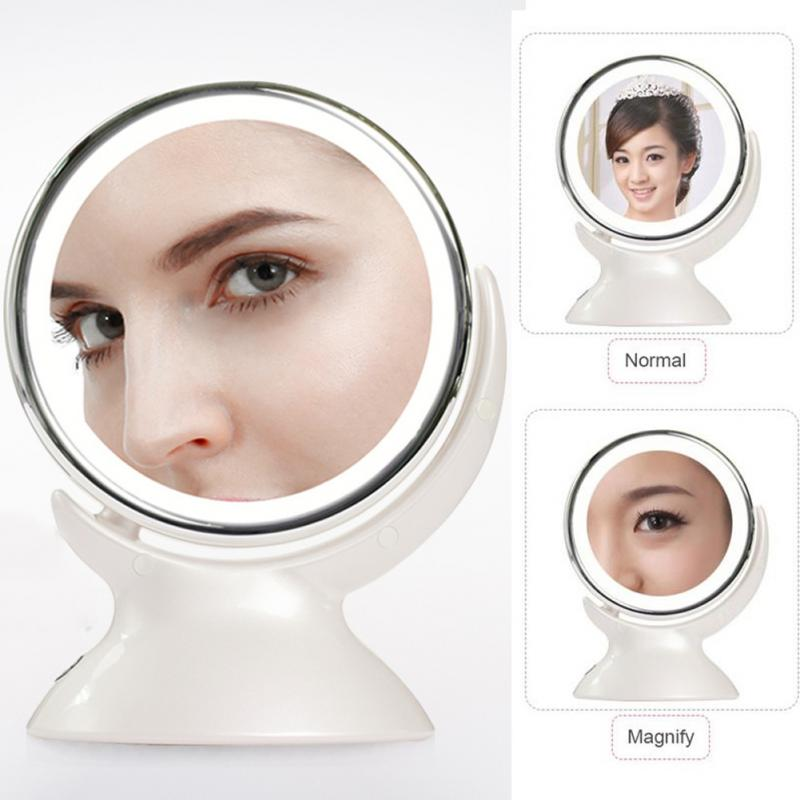 New 360 Degrees Rotate Makeup Mirror Lighted Touch Screen 5X Magnification Foldable Adjustable Maquiagem LED makeup Mirror цена 2017
