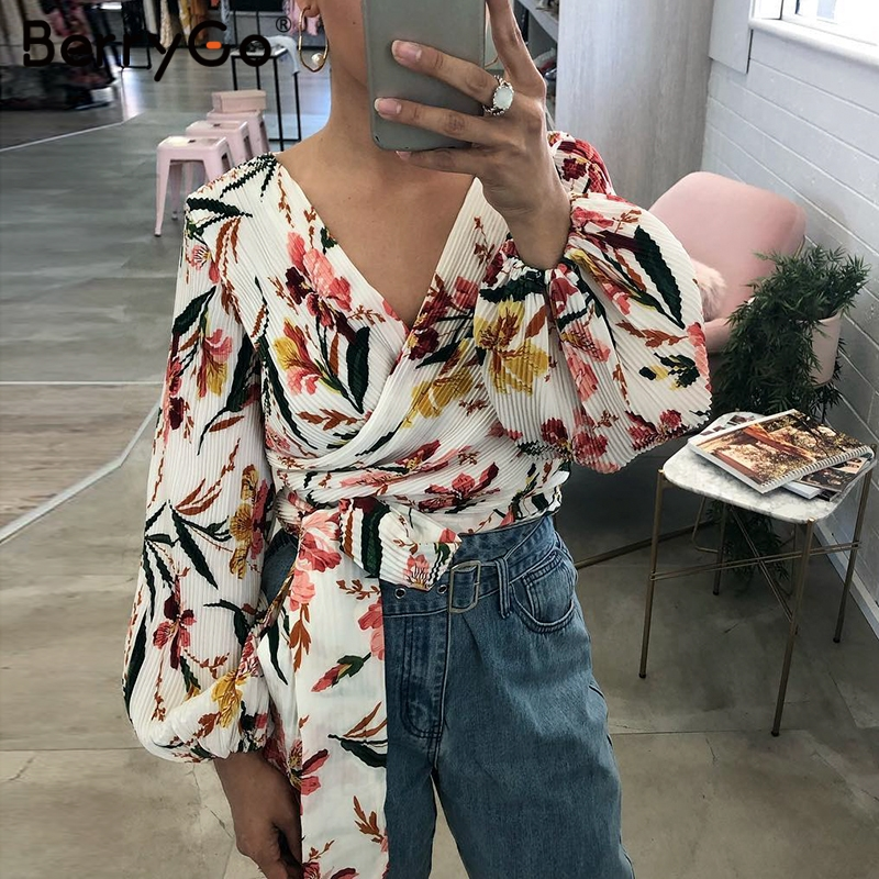 BerryGo women   blouse   chiffon   blouse   tops print Long lantern sleeve lace up ladies   blouse     shirt   Elegant Spring streetwear tops