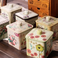 Free Shipping! Vintage Style Tin Coffee Box with Cover Metal Storage Box Tea Canister Multi-Use Storage Jar Hot Selling!