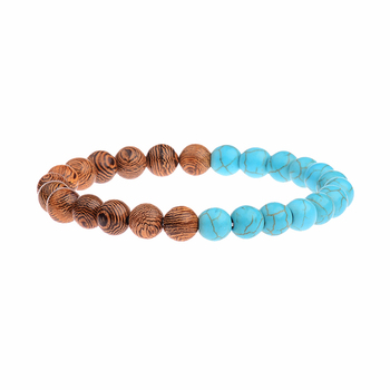 Elastic Natural Wood Beads Bracelet Bracelets Jewelry New Arrivals Women Jewelry Metal Color: 022-1
