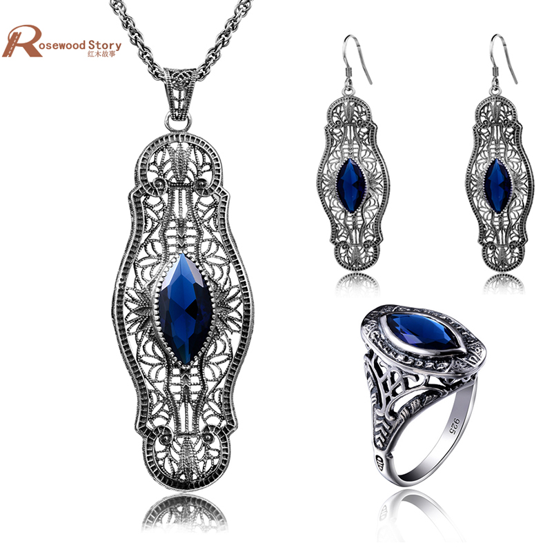 Sale Turkish Vintage Jewelry Sets Pendant & Earrings Ring Blue Rhinestone Crystal 925 Silver Wedding Gift for Love Bijoux uk charming embellished blue rhinestone wedding ring