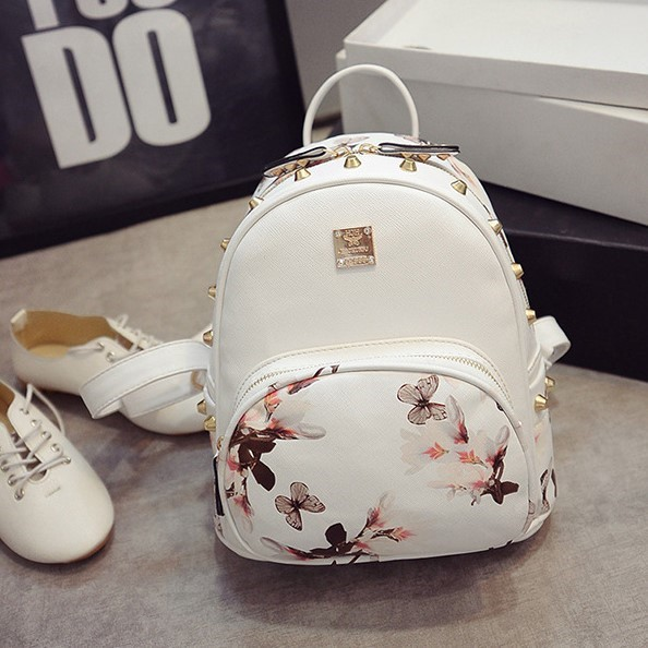 Relatively Woman Floral Printed Backpack Pu White Black Ladies Small Leather  WV79