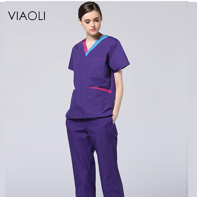 Viaoli 2017 new surgical clothing short sleeve wash clothes men and women doctor clothes nurse operating room purple pink gown