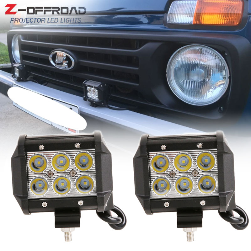 For lada niva 4x4 4inch 18W LED Offroad Spot Work Light Bar For Tractor Boat Off Road 4WD 4x4 Truck SUV ATV s1000rr turn led lights