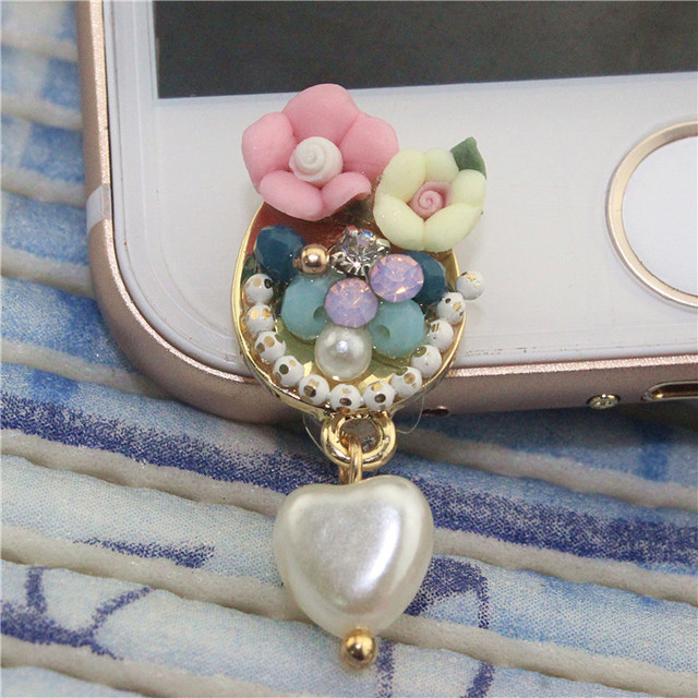 2017 new flowers practical mobile phone accessories heart-shaped front dust plug ear plug