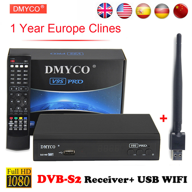 DVB S2 Spain Satellite Receiver 1 Year Portugal Clines Decoder Support  1080P Full HD Powervu bisskey IPTV DLNA EPG Home Receiver-in Satellite TV