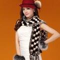 Luxo de inverno mulheres Natural Mink com borlas Lady quente cachecol quente VF0459