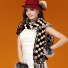 Luxury Winter Women's Real Natural Mink Fur Scarves with Tassels Lady Warm Muffler Neck Warmer VF0459
