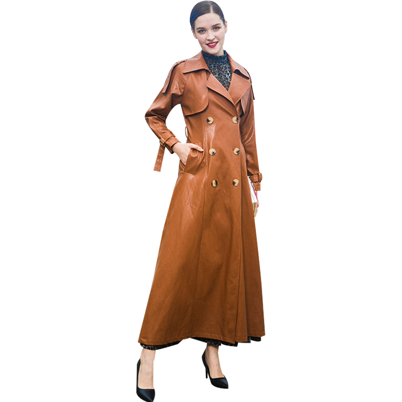 2018 Trench Coat Turn down Collar Women Leather Jacket PU Leather Autumn Winter Long Coat Women  Buttons Overcoat 9052|Leather Jackets| |  - title=