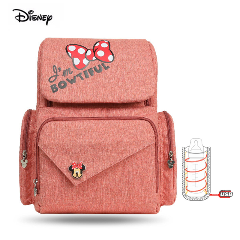 Disney Mommy Backpack Mickey Minnie Cartoon Comfort Baby Bottle Pack Large Capacity Bag Baby Car Bag Bulk Backpack Mummy Bag