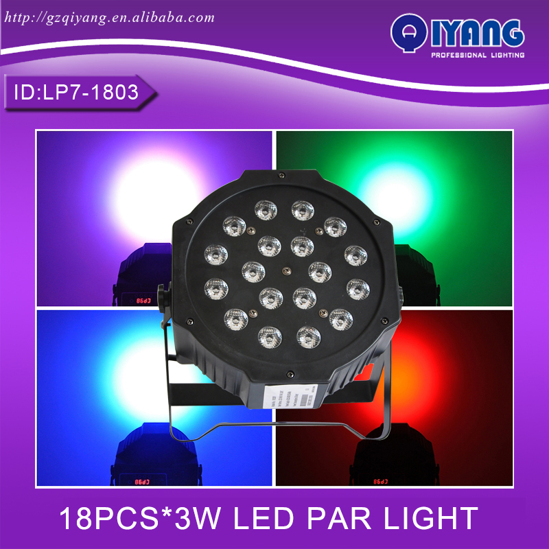 LP7-1803 18pcs*3W hot sell cheap price professional ktv disco rgb plastic flat led par light human in the store there are surprises low price store products lp st cheap suitcase